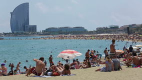 Barceloneta Beach in summer. Barcelona stock video