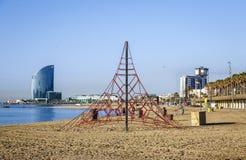 Barceloneta Beach in summer Stock Images