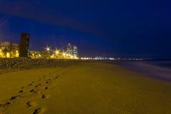Barceloneta beach. Winter night at Barceloneta beach Royalty Free Stock Photos