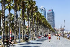 Barceloneta is een buurt in het district van Ciutat Vella van Barcelona royalty-vrije stock afbeeldingen