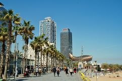 Barceloneta nadbrzeże, Barcelona obraz stock