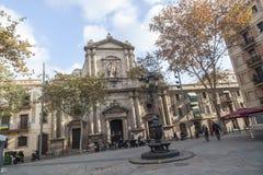 Barceloneta quarter, church, iglesia Sant Miquel del Port, baroqye style, maritime quarter of Barcelona. BARCELONA,SPAIN-DECEMBER 9,2015: Barceloneta quarter Royalty Free Stock Photos