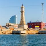 Barceloneta's Clock Tower in Barcelona Stock Photo