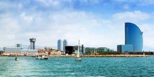 Barceloneta from sea. Barcelona Royalty Free Stock Images