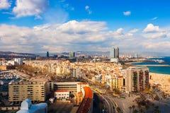 Barceloneta and sea beach. Barcelona Stock Images