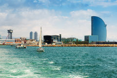 Barceloneta from sea side. Barcelona, Spain Royalty Free Stock Images