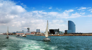 Barceloneta from sea side. Barcelona, Spain Stock Photos