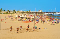 Barceloneta-Somorrostro Beach in Barcelona, Spain Royalty Free Stock Photography