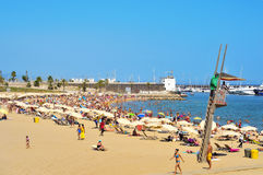 Barceloneta-Somorrostro Beach in Barcelona, Spain Royalty Free Stock Photos