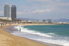 Barceloneta strand Arkivbild