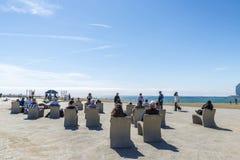 Barceloneta strand Arkivfoto