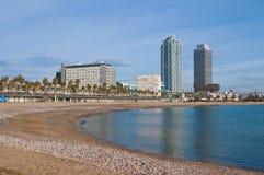 Barceloneta Strand in Barcelona, Spanien Stockfotografie