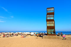 Barceloneta strand - Barcelona Spanien Arkivbild