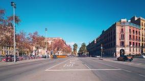 Barceloneta sun light bay traffic crossroad 4k time lapse spain stock video footage