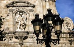 Barcelonetakwart, kerk, iglesia Sant Miquel del Port, barokke stijl, maritiem kwart van Barcelona Stock Foto's
