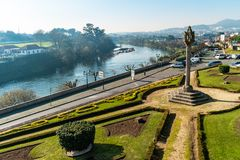 BARCELOS, PORTUGAL - CIRCA JANUARY 2019: View of the Barcelos city with Cavado river in Portugal. It is one of the growing. Municipalities in the country stock photography
