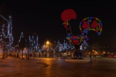 View at the Pop Galo at night. BARCELOS, PORTUGAL - CIRCA JAUARY 2019: View at the Pop Galo at night, public art inspired in the Barcelos cock, cosidered one of royalty free stock image
