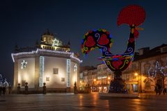 View at the Pop Galo at night. BARCELOS, PORTUGAL - CIRCA JAUARY 2019: View at the Pop Galo at night, public art inspired in the Barcelos cock, cosidered one of royalty free stock photography