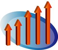 Barchart arrow up. Chart with arrows pointing up stock illustration