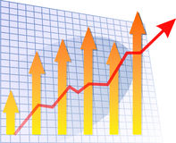 Barchart arrow up. Chart with arrows and graph pointing up vector illustration