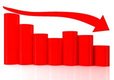 Barchart with arrows. 3D bar chart graph with arrows moving down on white bachgroung Stock Photos