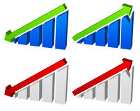 Barchart with arrows. Up down arrows on chart. 2 colors. Royalty Free Stock Images