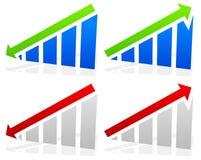 Barchart med pilar Upp ner pilar på diagram 2 färger stock illustrationer