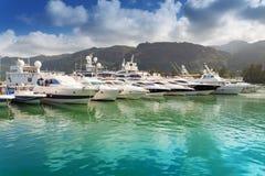 Barche ad Eden Island, Seychelles Immagini Stock Libere da Diritti