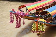 Barche al fiume di Chao Phraya a Bangkok Fotografia Stock Libera da Diritti