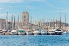 Barche al pilastro a Marsiglia Fotografia Stock Libera da Diritti