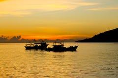 Barche al tramonto Fotografia Stock Libera da Diritti