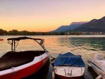 Barche al tramonto Immagine Stock