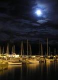 Barche alla notte Fotografia Stock