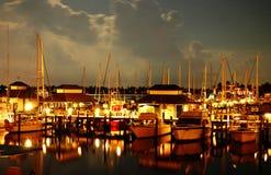 Barche alla notte Fotografia Stock Libera da Diritti