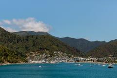 Barche ancorate al porticciolo di Picton in Nuova Zelanda Fotografia Stock Libera da Diritti