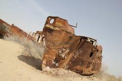 Barche arrugginite del mare di Aral Immagine Stock Libera da Diritti