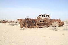Barche arrugginite del mare di Aral Fotografie Stock