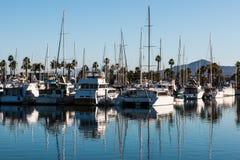 Barche attraccate in porticciolo al parco di Chula Vista Bayfront Fotografia Stock Libera da Diritti