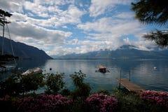 Barche attraccate sul lago Lemano in Svizzera Fotografia Stock Libera da Diritti