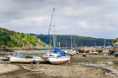 Barche a bassa marea Fotografia Stock