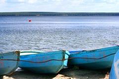 Barche blu Fotografia Stock