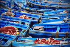 Barche blu di Essaouira, Marocco Immagine Stock