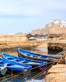 Barche blu di Essaouira, Marocco Fotografia Stock Libera da Diritti