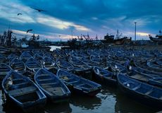 Barche blu in Essaouira, Marocco Fotografia Stock