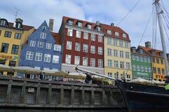 Barche in canale a Copenhaghen Fotografia Stock