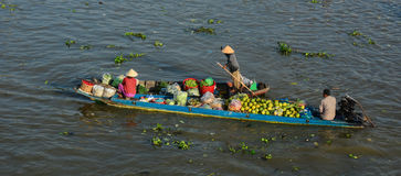 Barche che portano frutti sul fiume in Dong Thap, Vietnam Fotografia Stock
