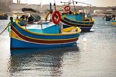 Barche colorate, Malta Fotografie Stock