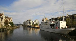 Barche commerciali, bacini di Leith, Edinburgh Immagine Stock Libera da Diritti