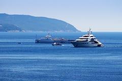 Barche costose sul grande mare con la foresta Fotografie Stock Libere da Diritti