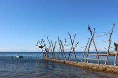 Barche d'attaccatura tradizionali di Istrian in Savudrija e in Umag, Croazia fotografie stock libere da diritti